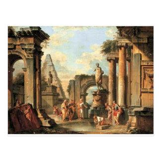 Um capricho de ruínas clássicas com Diogenes Cartão Postal