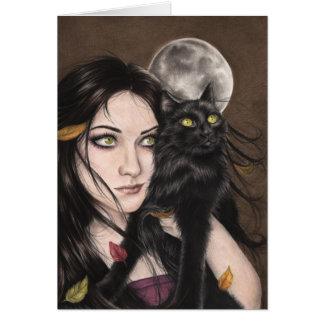 Um cartão da noite do Dia das Bruxas do outono
