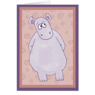 Um cartão de nota pequeno culpado do hipopótamo
