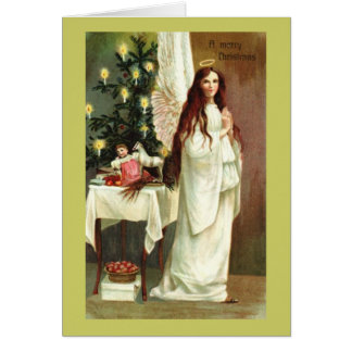 Um cartão do vintage do anjo do Feliz Natal