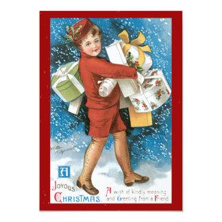 Um cartão feliz do natal vintage do Natal Convite 12.7 X 17.78cm