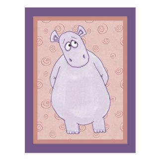 Um cartão pequeno culpado do hipopótamo cartão postal
