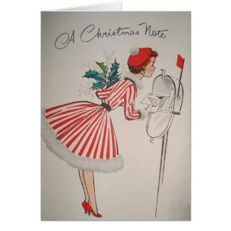 Um cartão retro do vintage da nota do Natal