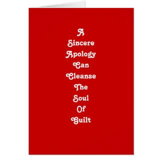 Um cartão sincero da desculpa
