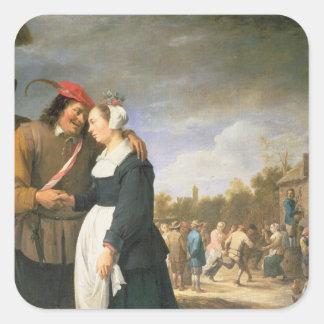 Um casamento do camponês, 1648 adesivo quadrado