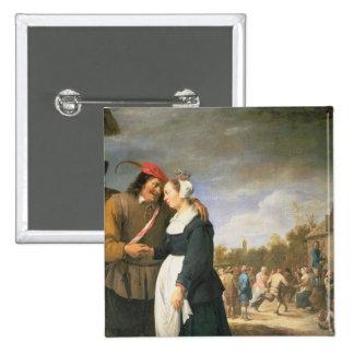 Um casamento do camponês, 1648 bóton quadrado 5.08cm
