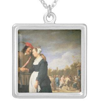 Um casamento do camponês, 1648 colar com pendente quadrado