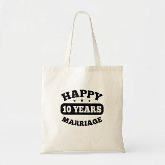 Um casamento feliz de 10 anos bolsa tote