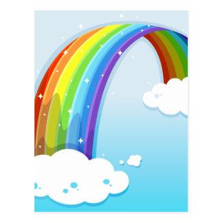 Um céu com um arco-íris sparkling cartão postal