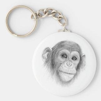 Um chimpanzé, não monkeying ao redor o esboço chaveiro
