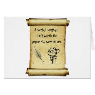 Um contrato verbal não é valor o papel que é writt cartões