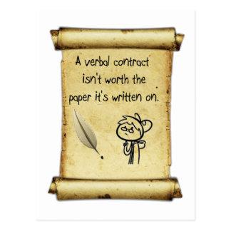 Um contrato verbal não é valor o papel que é writt cartão postal