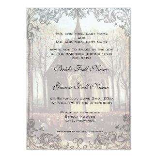 Um convite do casamento da igreja do país