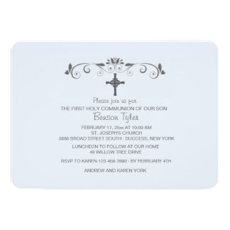 Um convite religioso azul pequeno doce