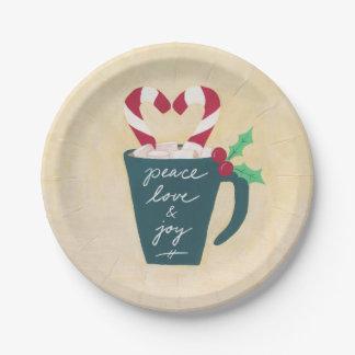 Um copo da paz, do amor e da alegria prato de papel