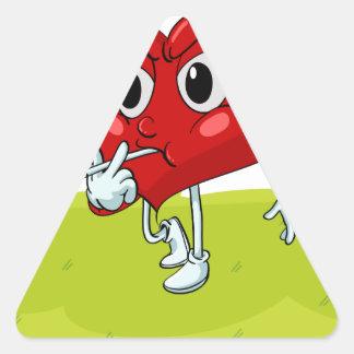 um coração adesivo triangular