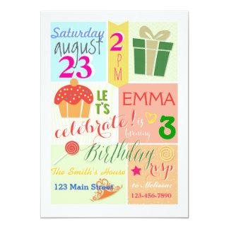 Um cupcake, uma coroa, e uma princesa Aniversário Convite 12.7 X 17.78cm