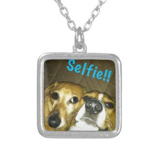 Um dachshund e um lebreiro que tomam um selfie colar com pendente quadrado