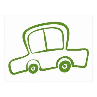 Um desenho de um carro verde cartão postal