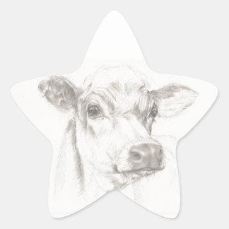 Um desenho de uma vaca nova adesivo estrela