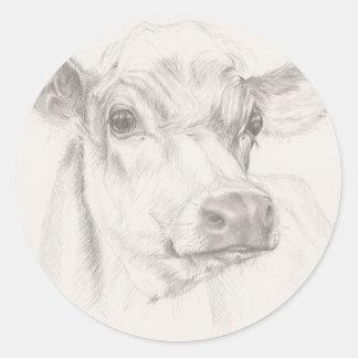 Um desenho de uma vaca nova adesivo redondo