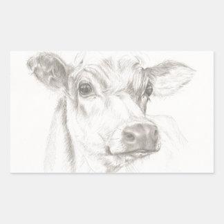 Um desenho de uma vaca nova adesivo retangular