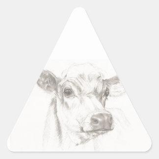 Um desenho de uma vaca nova adesivo triangular