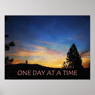 Um dia em um poster do nascer do sol do tempo