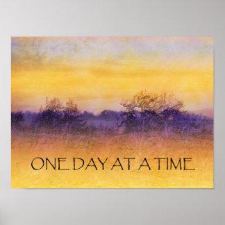 Um dia em um poster roxo alaranjado do campo do te