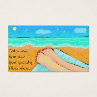 Um dia no cartão de visita de Pedicurist da praia