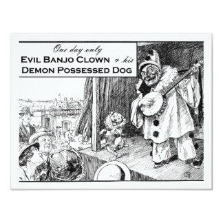 Um dia somente: Palhaço mau do banjo Convite 10.79 X 13.97cm