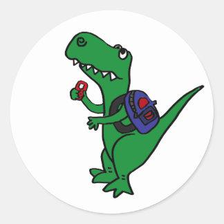 Um dinossauro de T-rex de volta aos desenhos Adesivo Em Formato Redondo