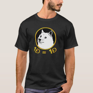 Um Doge = a uma camiseta dos homens de Dogecoin do