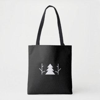 Um dois sacola minimalista preta de três árvores bolsas tote