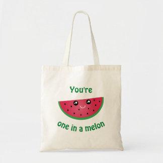 Um em uma melancia bonito engraçada de Kawaii do Bolsa Tote