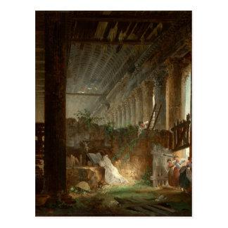 Um eremita que Praying nas ruínas de um templo Cartão Postal