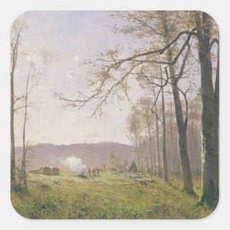 Um esclarecimento em uma madeira outonal, 1890 adesivo quadrado