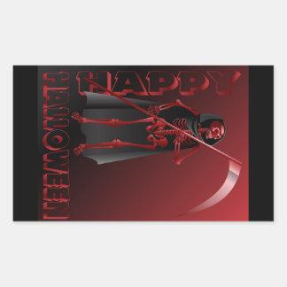Um esqueleto com um scythe o Dia das Bruxas feliz Adesivo Retangular