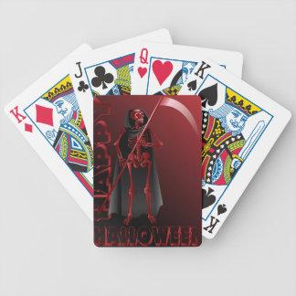 Um esqueleto com um scythe o Dia das Bruxas feliz Baralhos Para Pôquer