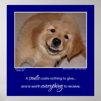 Um filhote de cachorro de sorriso do golden poster