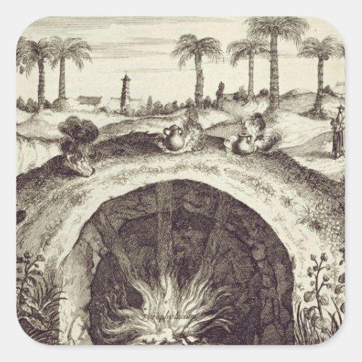 Um fogão subterrâneo do vapor do gigante, 'de adesivos quadrados
