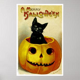Um gatinho alegre do Dia das Bruxas Poster