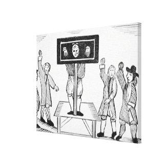 Um homem culpado no Pillory da vila, cópia de um 1 Impressão De Canvas Envolvida