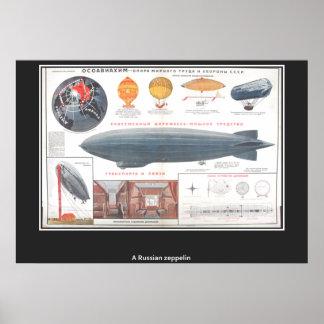 Um impressão do vintage do zepelim do russo