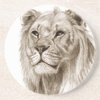 Um leão - sem arte do esboço do desenho do orgulho porta-copos de arenito