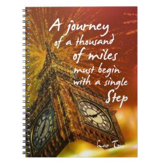 Um longo caminho começa com uma única etapa caderno