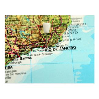 Um mapa da cidade brasileira de Rio de Janeiro Cartão Postal