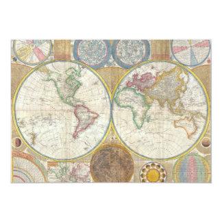 Um mapa geral do mundo por Samuel Dunn 1794 Convite 12.7 X 17.78cm