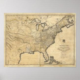 Um mapa novo e correto dos Estados Unidos Poster