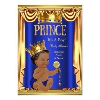 Um menino do ouro do príncipe chá de fraldas dos convite 12.7 x 17.78cm